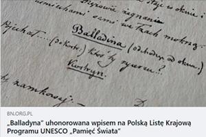 "Rękopis ""Balladyny"" uhonorowany"